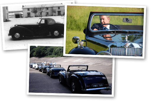 Triumph Roadster at Brooklands and also being driven by John Nettles from Bergerac