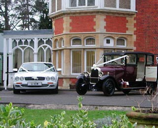 Our Jaguar XJ looking at home outside Bletchley Park.