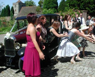Fun with the bouquet and our Vintage Citroen.